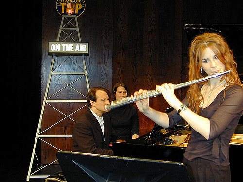 Emi Ferguson plays flute with Christopher O'Riley on From the Top