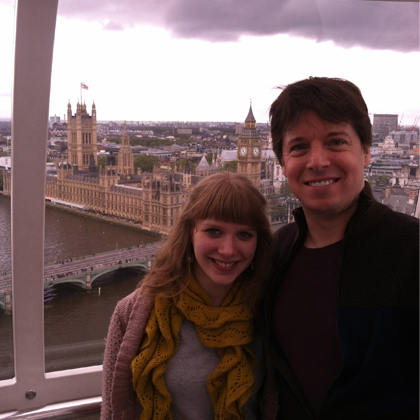 Joshua Bell and Anna Litvienko overlooking London.