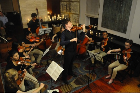 Joshua Bell and FTT/YoungArts alumni at Bell's apartment