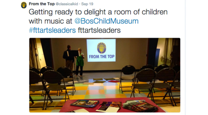"From the Top tweet: ""Getting ready to delight a room of children with music at @BosChildMuseum #fttartsleaders"