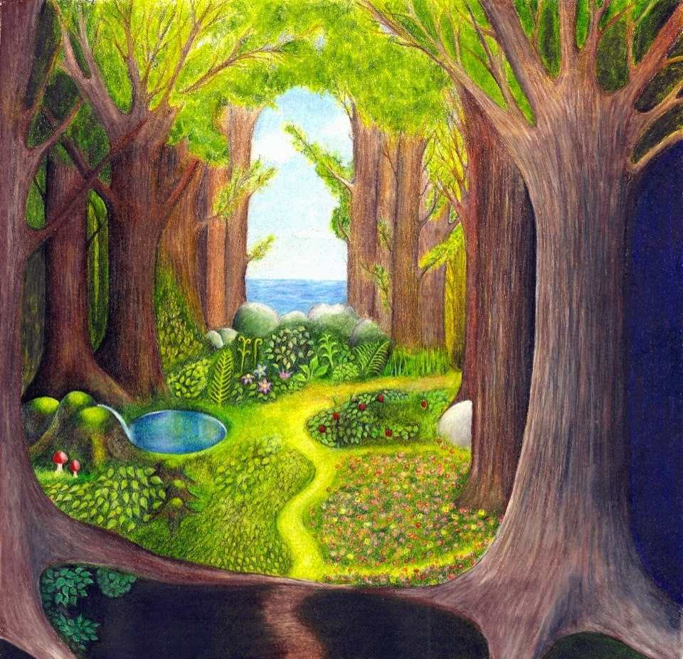 Painting of a forest